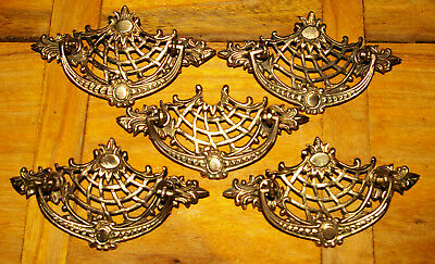 """1930 Vintage BRASS DRAWER PULL HANDLES w Bail Lifts  5.25"""" x 2.5""""  (3"""" Centers)"""