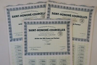 Compagne Fonciere Saint Honore Courcelles 500 Francs Paris X 38 Actions