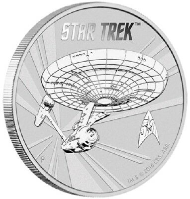 2016 Star Trek: U.S.S. Enterprise NCC-1701 1oz Silver coin in card - Perth Mint