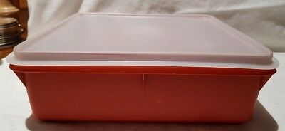 Tupperware Square Tangerine Container # 514-11 Made In Australia Clear Lid
