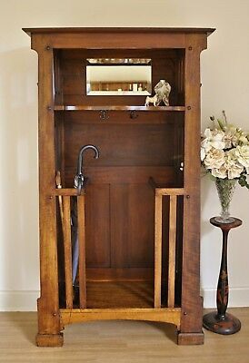 Unusual Antique Arts & Crafts Oak Hall Stand Hat Coat & Umbrella Stand w Mirror