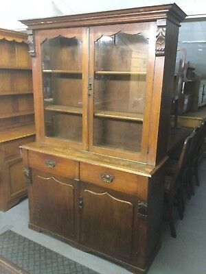 Antique Oak Glazed Dresser / Glazed Display Shelves Drawers And Cupboards Under