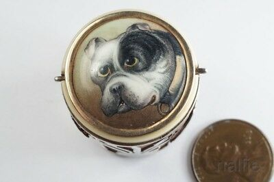 ANTIQUE ENGLISH SILVER COUNTER BOX w/ ENAMEL BULLDOG MINIATURE by FORD ? c1880