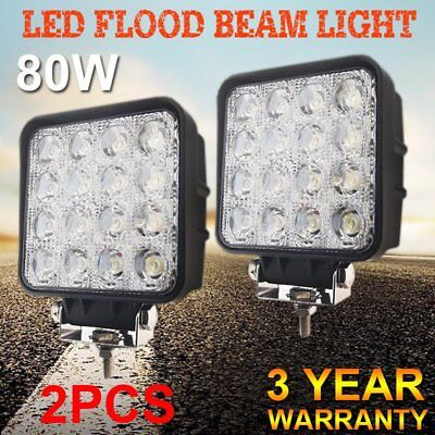 2X Square 80W LED Work Light Spot Flood Beam UTV ATV SUV Truck Driving Car Lamp.
