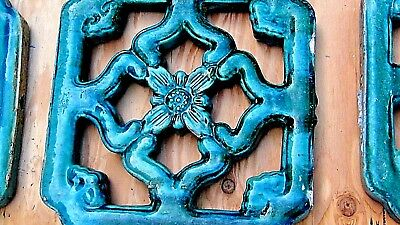 Set Of 9 Antique Chinese Breezeway Terra-Cota Glaze Garden Tiles Green Turquoise