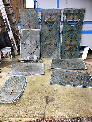 Antique Coloured Lead Panel Stained Glass Windows Parts Repairs Bundle Sk9