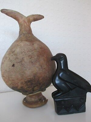 Most Unusual Ancient Egyptian ? Pig Skin Vessel and Carved Stone Zimbabwe Bird