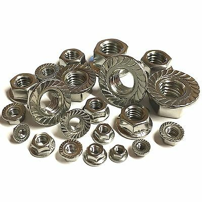 3mm 4mm 5mm 6mm 8mm 10mm 12mm Hexagon Serrated Flange Nuts A2 Stainless DIN 6923