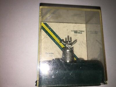Vintage Classic Pewter Thimble Arizona Cactus ROADRUNNER with original case  6d