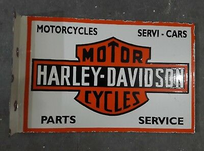 """Porcelain HARLEY DAVIDSON Sign SIZE 19.5"""" X 13"""" INCHES with flange"""