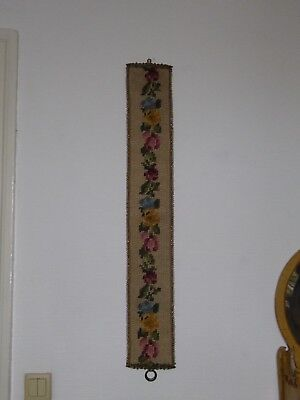 "Vtg Antique Needle point  Brass ""Bell Pull"" NO BELL  Tapestry  European  39 3/4"""