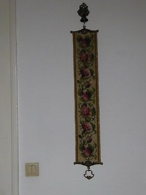 Vtg Antique Needle point  Brass Bell Pull Tapestry With the Bell European