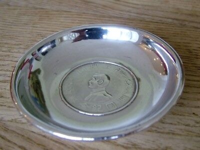 Genuine Antique Chinese Solid Silver Export Dollar Dish Memento C1927 No Res