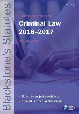 Blackstone's statutes: Blackstone's statutes on criminal law 2016-2017 by