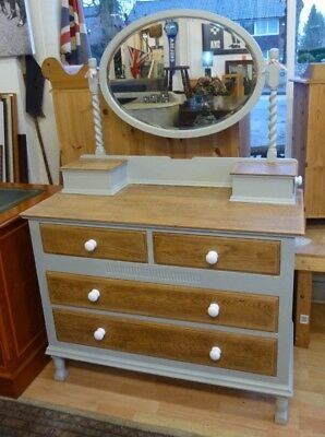 Vintage Oak Barley Twist Dressing Table Chest of Drawers - Shabby Chic