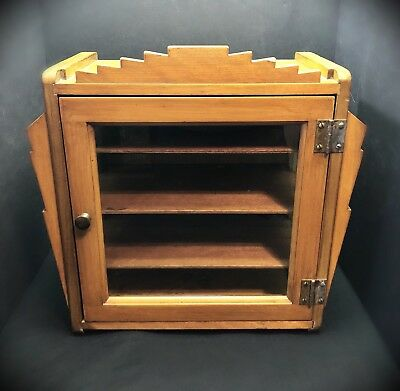 Antique Art Deco Wood & Glass Cabinet~ Awesome Look!!
