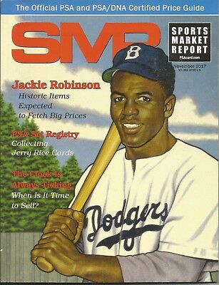 November 2017 SMR Sports Market Report Price Guide Jackie Robinson Dodgers Cover