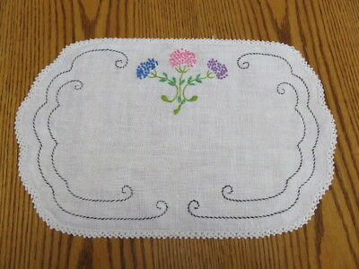 "Vintage Embroidery Doily - Embroidery Flowers - Off White -  16"" By 10"""