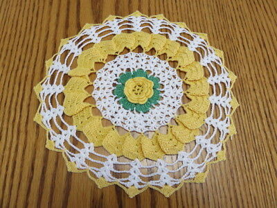 "Vintage Crochet Doily  -  White - Yellow - Raised Flower - 8"" Diameter"
