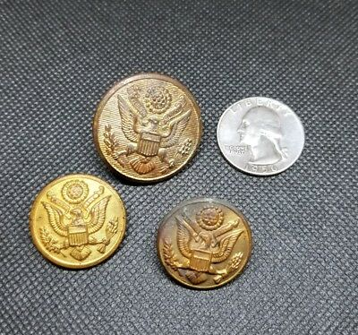 Vintage Lot of 3 Military Brass Uniform Buttons Gold Tone Eagle Waterbury