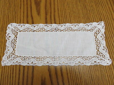 "Vintage Linen Crochet Trim Doily  -  White - 10"" By 5"""