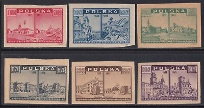 Poland 374-379 VF MH 1945-46 Imperf Views of Warsaw & Liberation of Warsaw Sets