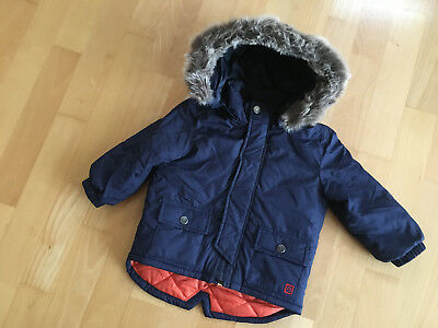 PAUL SMITH JUNIOR NAVY BLUE Padded Warm Coat Detachable Hood 18 MTHS HARDLY WORN