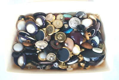 Vintage Sewing Buttons Mixed Lot Unsorted Plastic Glass Metal