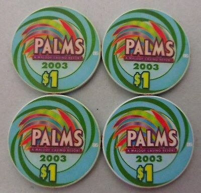 set 4 PALMS Casino Las Vegas $1 CHIPS 2003 Ace, King, Queen, Jack UNCIRCULATED