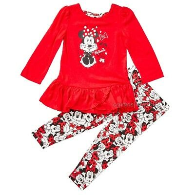 Disney Minnie Mouse Girls Red Faces Swing Peplum Top Leggings Outfit Set 3T 4T
