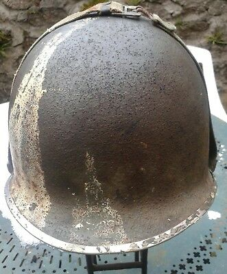 Coque casque US M1 jonc avant pattes fixes WW2 39/45  fabrication fin 1943 wwII