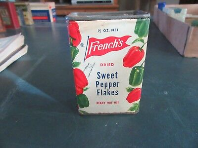 Vintage French's Sweet Pepper Flakes spice Tin Can Only 1 On Ebay!   Lot 18-10