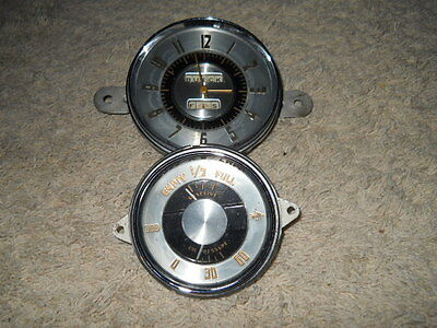 1948 48 Buick Super Roadmaster CLOCK AND GAS OIL GAUGE(s) in Housing(s) SET
