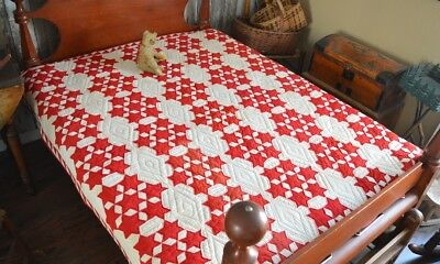 Antique / Vintage Hand Stitched Patriotic Seven Sisters Quilt with Border