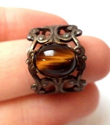Stunning Vintage Estate Tigers Eye Silver Tone Band Sz 8 Ring!!! 8569A