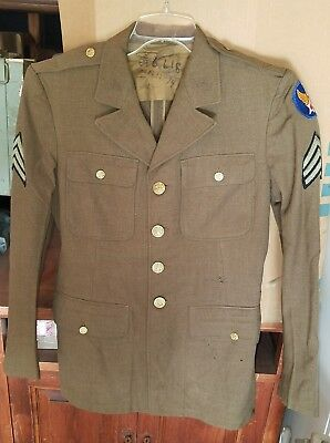 Lot of 2 WW2 US Army Air Corps 1st Air Force Sargeant's Uniform Jacket & Shirt