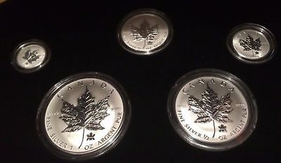 2004 Maple Leaf RCM Privy Fractional 5 Coins Set Pure .9999 Silver