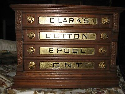"Antigue Oak ""Clarks"" Spool Thread Cabinet"