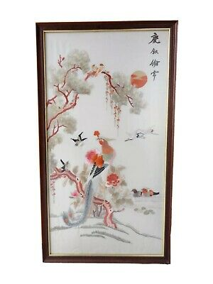 Lovely Large Vintage Framed Embroidered Chinese Silk Wall Art