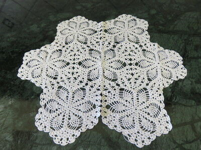 "Vintage Crochet Doily -  Pineapple  - White - 16"" By 15"" -  Handmade"