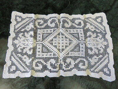 "VINTAGE DARN NET LACE  DOILY - OFF WHITE - 14"" by 8"""