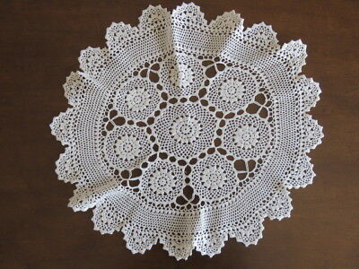 "Vintage Crochet Doily - Off White - 18"" In Diameter"