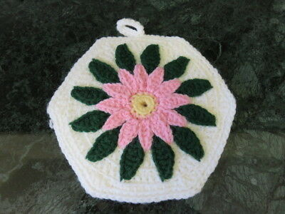 "Crochet Doily - Potholders/hot Pads - White - Green - Pink Flower - 9"" Diameter"