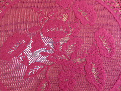 "Vintage Lace Tablecloth  - Burgundy -  89"" By 60"""
