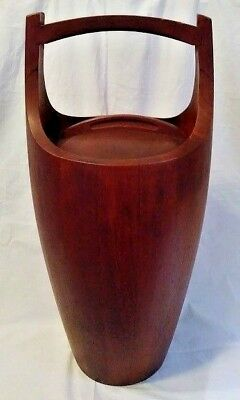 Vintage Large Dansk Teak Wood Ice Bucket White Liner Denmark