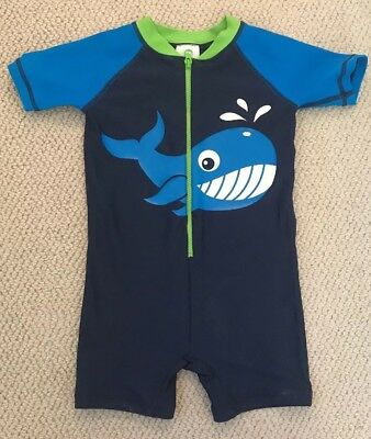 Infant Toddler Boys One-piece Hanna Andersson Whale Swimsuit Size 80 GUC