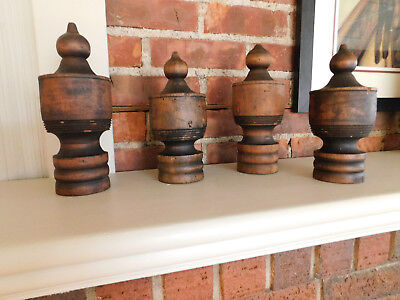 Collection of 4 antique wood decorative finials architectural salvage furniture