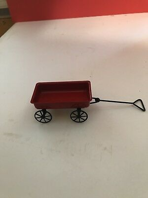 Dollhouse Miniature Red Metal Wagon-Great for Fairy Gardens too #IM66265