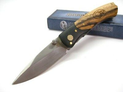 ROUGH RIDER Wood Grain Handle Straight Folding LINERLOCK Pocket Knife! RR1283