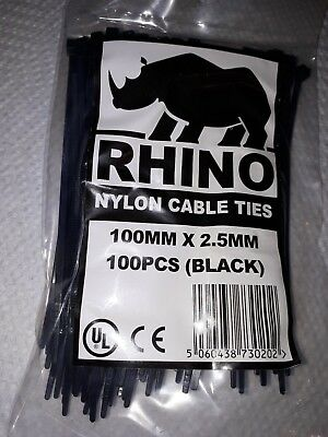 1 Packet of 100 Rhino Black Cable Ties  Zip Ties Size 100mm x 2.5mm